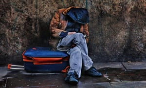 Homeless man in London
