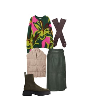 Jo Jones Fashion editor 'Play with texture for a cosy feel' Jumper, £240, Dries Van Noten at libertylondon.com. Scarf, £69, cosstores.com. Gloves, £132, dentsgloves.com. Skirt, £295, whistles.com. Boots, £29.99, zara.com