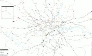 Everything in one map. Created by cartographer Franklin Jarrier, this map combines detailed track diagrams with the geographical layout of the entire network, showing every platform, line and interchange.