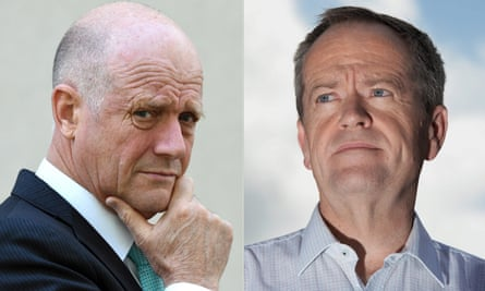 Australian senator David Leyonhjelm (left) and Labor leader Bill Shorten.