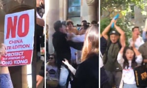 Protesters clash at the University of Queensland over Hong Kong's controversial extradition law.