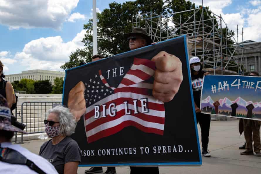 Demonstrators rally near the supreme court in Washington DC.