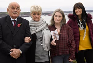 Spencer Beynon's father Chris, his mother Margaret, his daughter Victoria and former wife Ellen in Milford Haven after the pre-inquest hearing into his death.