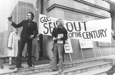 A Coin Street protest in the 1970s targets the Greater london Council (GLC). Iain Tuckett pictured centre.