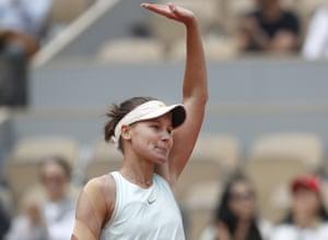 Russia's Veronika Kudermetova celebrates.