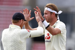 Broad celebrates taking Brooks for lbw.