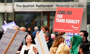 Protesters demonstrate outside the Scotish Parliament for reform of the Gender Recognition Act