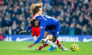 David Luiz was shown a red card for his challenge on Tammy Abraham. Jorginho scored the resulting penalty to make it 1-0.