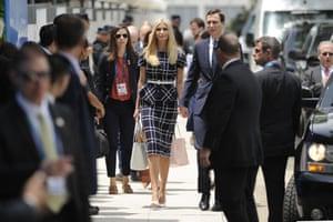 White House adviser and US President Donald Trump's daughter Ivanka Trump arrives with her husband Senior Advisor Jared Kushner