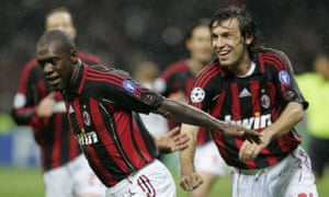Clarence Seedorf scores for Milan against Manchester United in the Champions League semi-final in 2007.