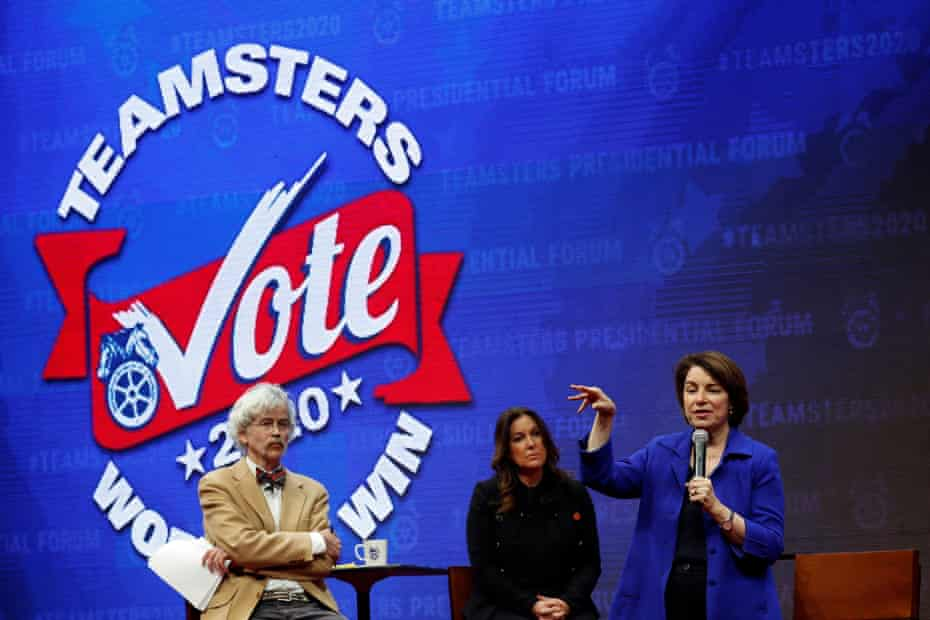 Senator Amy Klobuchar appears at the Presidential Candidate Forum in Cedar Rapids organised by the Teamsters and co-sponsored by the Guardian and the Storm Lake Times.