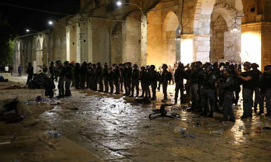 Israeli police outside al-Aqsa mosque, East Jerusalem, on 7 May