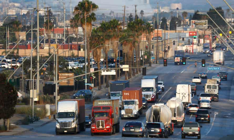 Truck and car traffic along East Anaheim Street, in Wilmington, California, on 31 July 2021. The vast majority of trucks moving in and out of the Ports of Long Beach and Los Angeles are diesel.