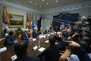 Mike Pence, center, speaks during a meeting with the Coronavirus Task Force and diagnostic lab executives at the White House in Washington, D.C.