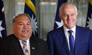 Nauru president Baron Waqa with Australian prime minister Malcolm Turnbull.