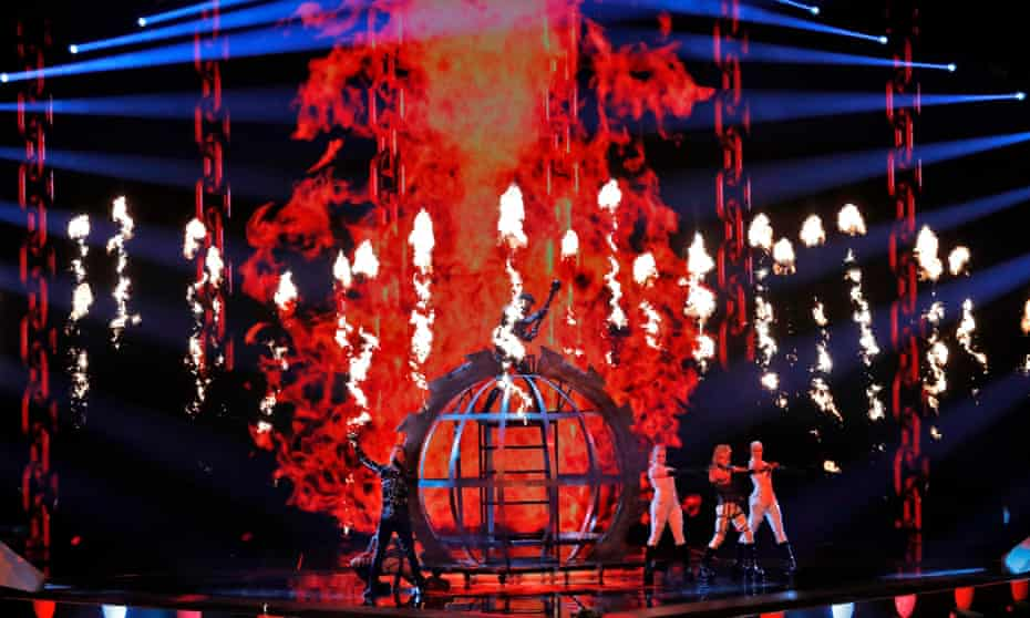 Iceland's Hatari performs the song Hatrið Mun Sigra at the semi-final of the 2019 Eurovision song contest.