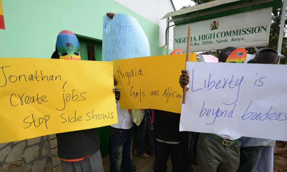 Kenyan gay and lesbian organisations demonstrate outside the Nigerian high commission in Nairobi in 2014 after the Nigerian president Goodluck Jonathan signed the Same Sex Marriage (Prohibition) Act into law