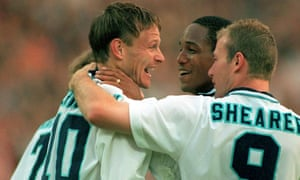 Teddy Sheringham celebrates his goal against Holland with Paul Ince and Alan Shearer.