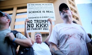 Protestors gather outside Donald Trump's rally in Phoenix, Arizona