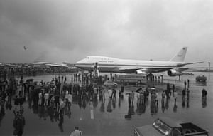 The new 747 jumbo goes on display at the Paris air show on 3 June, 1969. With its distinctive hump, the 747 has become one of the most recognisable planes in the world. Its economy section at 45.7 metres is longer than the distance the Wright brothers covered in their first flight (36.5 metres).