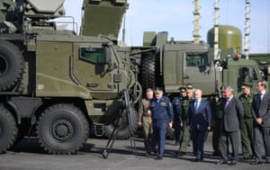 Akhtubinsk, Russia President Putin tours an exhibition of military equipment as he visits a defence ministry flight test centre