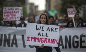 Protesters in Los Angeles. More than 50% of residents support the state's new sanctuary laws, which protect immigrants.