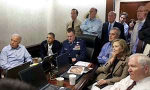 The White House situation room during the Bin Laden mission