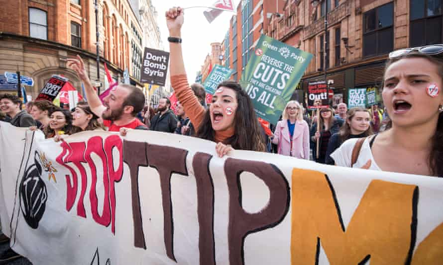 The protest, against issues including spending and benefit cuts, NHS reforms and restrictions on trade unions, was largely peaceful, although a breakaway group pelted a young Tory with eggs and spat at journalists.