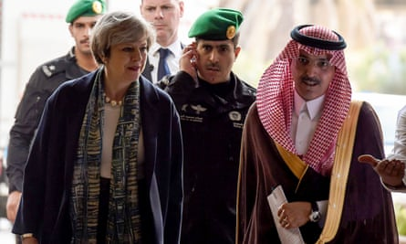 Theresa May with Saudi finance minister Mohammed al-Jadaan at the Saudi Stock Exchange.