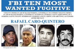 An image released by the FBI of the wanted poster for Rafael Caro Quintero.