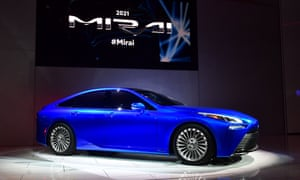 The Toyota Mirai, a hydrogen fuel cell electric vehicle