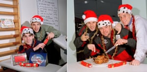 Gary, far left, and Phil Neville, second left, have a cracking time in the Manchester United gymnasium, while elsewhere at the Manchester United training ground, Ryan Giggs, Gary Pallister and Nicky Butt, right, tuck into some festive fare in 1996