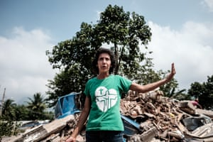 Maria da Penha Macena speaks after her house in Rio's Vila Autodromo neighbourhood was demolished, in March 2016