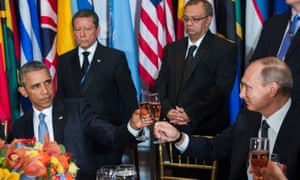 US and Russian Presidents lock eyes during a toast at a luncheon in New York
