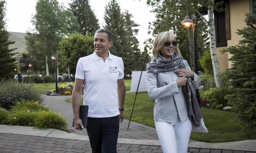 Bob Iger with his wife in Sun Valley, Idaho. The CEO stands to make over $100m from the possible 21st Century Fox acquisition.