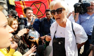 The actor, Emma Thompson at an Extinction Rebellion protest in central London in April.