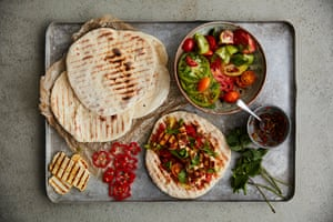 Halloumi is a barbecue favourite for these flatbreads, but you could use feta, paneer or even tofu.