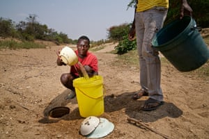 A single borehole costs $2,500 to drill but can serve thousands of villagers in an emergency, according to Makepeace Muzenda, the government's local district administrator. Many of the 350 boreholes in the province aren't working, so villagers instead dig holes in the dry river beds. Untreated and untested, the shallow stagnant water is a potential source of pollutants and water-borne diseases