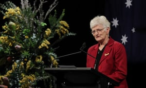 Dr Kathy Rowe, who lost her husband in the fires, speaks at a memorial service at the Melbourne Exhibition building for the 10 Year Anniversary of the 2009 Victorian Bushfires on Monday, February 4, 2019. One hundred and eighty people were killed and around two thousand homes destroyed when a series of fires swept across Victoria in the Black Saturday bushfires in January 2009. (AAP Image/David Crosling) NO ARCHIVING