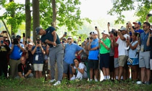 Tiger Woods recorded an unlikely par on the 15th in the first round of the US PGA Championship.