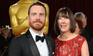 Michael Fassbender with his mother at the 2014 Oscars