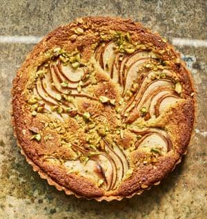 Anna Jones' pear, pistachio and cardamom tart.