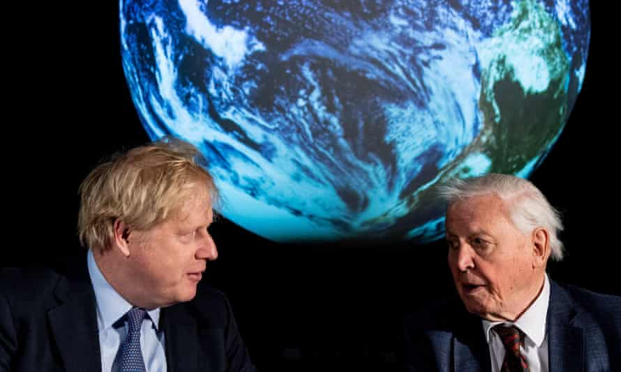 Boris Johnson and David Attenborough, February 2020.