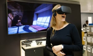 A woman tries out the Oculus Rift at a John Lewis store in central London
