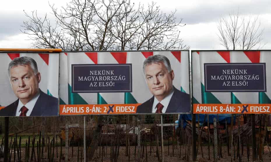 Election billboards featuring the face of Viktor Orbán in Baja, Hungary