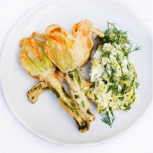 Blooming lovely: courgette flowers with fresh cheese.