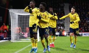Eddie Nketiah celebrates after scoring Arsenal's second goal.