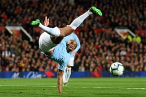 24 April 2019: Kompany stretches for the ball as City win the Manchester derby 2-0 at Old Trafford.