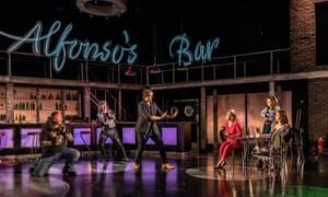 'From slapstick to pure nasty': Benson Wilson, Filipe Manu, Christian Valle, Alexandra Lowe, Zoe Drummond and Carmen Artaza in the Guildhall School's Così fan tutte.