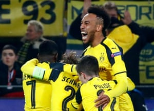 Aubameyang celebrates scoring the third.